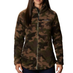 Columbia Womens Green Camouflage Hooded Fleece Lined Jacket Size XL $90 *DEFECT