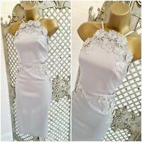 LIPSY VIP  💋 UK 10 New Silver Grey Lace Flower Pencil Wiggle Dress ~Free P&P~
