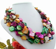 "20"" 6Strds Multi Color Shell Onyx  Necklace"
