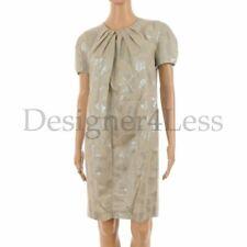 MATTHEW WILLIAMSON Dress Pale Green & Silver Leaf Cotton Shift Size UK 10 SW 195