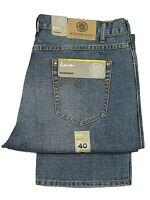 KAM Mens Big Size Jeans Straight Leg Mid Blue Colour Plain Denim Trousers 40-60