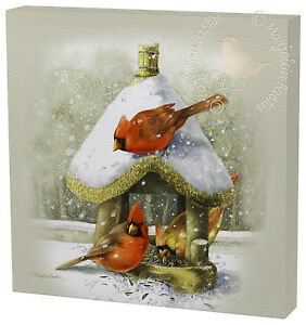 Marjolein Bastin Cardinals at the Feeder 12 x 12 Gallery Wrapped Canvas