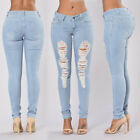 2017 Women Denim Skinny Pants High Waist Hole Stretch Jeans Slim Pencil Trousers