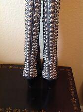 GIUSEPPE ZANOTTI VICINI Silver Studded Leather Boots, EU 38.5 US 7.5-8