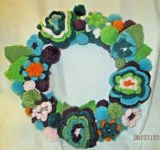 Crochet Wreath Handmade Aqua & Purple Flowers 16 inches