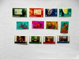BAHAMAS: 1974 Mint Commems 4sets/12 stamps M/M btwn Sg410/437