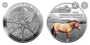 Ukraine,5 Hryven, Chernobyl.  Renaissance.  Przewalski's horse 2021 year