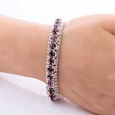 wedding Amethyst gold filled tennis bracelet love band crystal bangle