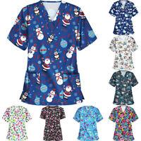 Women Short Sleeve V-neck Tops Shirt Working Uniform Christmas Print Blouse AU