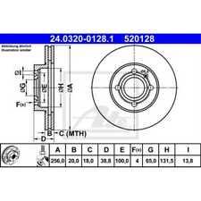 ATE 2x Bremsscheiben belüftet beschichtet 24.0320-0128.1