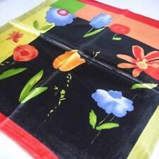 Black tulip floral Soft Neckerchief Shawl Head Bandanas Square Scarf Satin