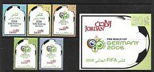 JORDAN 2006 WORLD CUP FOOTBALL GERMANY SG 2112-16 SET 5 +M/S 2117 MNH.