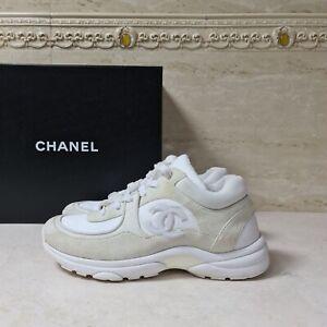 CHANEL CC LOGO Beige Suede Sneakers Sz.37