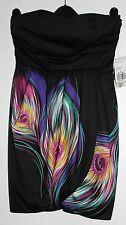 NWT FOREVER 21 Black Strap/Strapless Dress Petal Shaped Purple Detail Skirt S