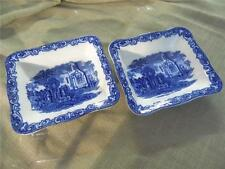 PAIR LARGE VINTAGE DOUBLE SHREDDED WHEAT DISHES BY GEORGE JONES BLUE ABBEY WARE