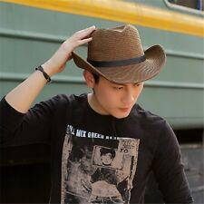 1853ab5556f34 Mens Retro Style Summer Beach Foldable Sun Hat Cap Wide Brim Straw Hats  Cowboy