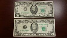 Lot of 2 Two Old $20 US Notes Bills (1988A) $40.00 Face Value - New York Chicago