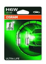 COPPIA Lampada Lampadina Luce OSRAM ULTRALIFE H6W (BAX9s) 12V 6W 64132
