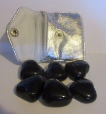 Black Heart Shaped Worry Rubbing Stone w Silver Metallic Pouch Relax Spiritual