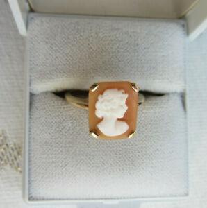 Unikat 375 Gold Ring Schöne Antike Gemme Kamee 9ct Gelbgold England 2,7g 53 54