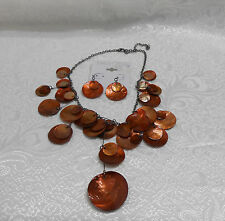 COPPER COLOR SHELL-LIKE NECKLACE & EARRING SET