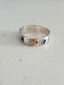 Bear Paw Claw Ring Size 8 Navajo Vintage Sterling Silver + Gold
