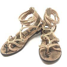Sam Edelman Size 7.5 Gladiator Sandals Strappy Zip Back Beige