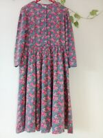 1980s Laura Ashley Floral Roses Dress Made in Great Britain (Lovely and Pretty)