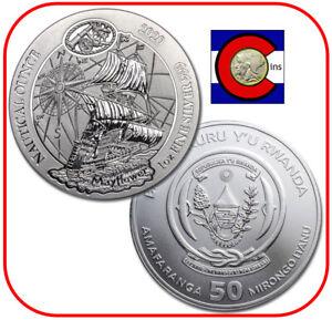 2020 Rwanda Mayflower Nautical Ounce 1 oz Silver Coin in orig mint sealed pack