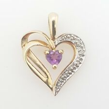 Preloved Jewellery 9ct Yellow Gold Amethyst Diamond Heart Pendant RRP $199