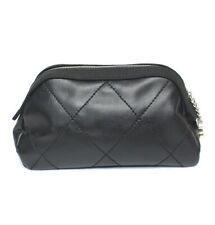 CHANEL Paris Biarritz Leather & Canvas Cosmetic Pouch Black #49574 from Japan