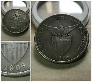 1906 US-Philippines Shield 1 Peso Silver Crown Original Hosting ALTERED 6 wChops