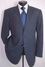 DAKS Gray Stripe 2 Buttons Center Vent Wool Suit Pants Coat 42 R Pants W36 X 31L