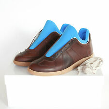 MAISON MARTIN MARGIELA blue neoprene brown leather sneakers shoes 42-IT/9-US NEW