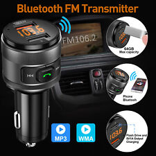 Bluetooth Fm Transmitter Adapter For Car W/Qc3.0 Usb Fast Charger Socket outlet