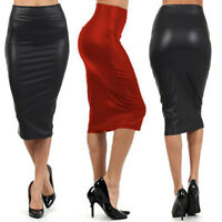 M L XL Womens Skirt Faux Leather Pencil Stretch Bodycon High Waist Skirt 2 Color