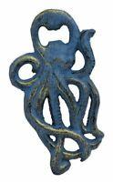 "Octopus Bottle Opener 5 1/2""h Cast Iron Blue Finish Nautical Shaped Beer"