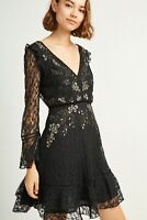 French Connection Black Bella Sparkle Embellished Lace Mini Party Dress 6 to 16
