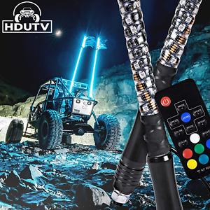 Pair 4ft RGB LED Light Whip Spiral Antenna w/Flag & Remote for RZR Can-am UTV