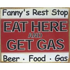 Eat Here & Get Gas Rustic Funny Tin Metal Sign  2 - 12 Post Flat Rate $15