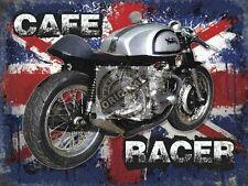 Vintage Garage Norton Cafe Racer, Old British Motorcycle, Small Metal/Tin Sign