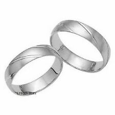 MENS & WOMENS 14K WHITE GOLD MATCHING HIS & HERS WEDDING BANDS RINGS SET
