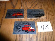 1999 2000 2001 Cruise Night Dublin Fire Company Dash Plaques Lot of 3