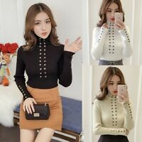 Winter Korean Women Button Slim Stretch Jumper Sweater Turtleneck Knit Shirt Top