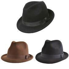 VTG Style Felt Trilby Hat BNWT/NEW 100% Wool Gangster Fedora Men S/M/L