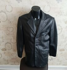 Men's Genuine Leather Blazer Jacket three Button Coat black size small 36/38""