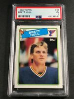 BRETT HULL 1988 TOPPS #66 ROOKIE CARD RC NEAR MINT PSA 7 NHL HALL OF FAMER