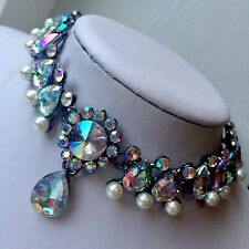 Boho Statement Fashion Necklace Choker Pearl Bead Crystal Wedding Birthday Bride