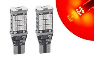 Ampoules T15 LED W16W 45 smd Rouge Canbus pour Feux arriere frein stop Voiture