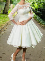 Bridal Classic Satin Lace 3/4 Sleeve Tea Length Wedding Party Prom Gown Dresses